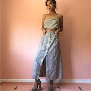 Reformation Crop Button Midi Skirt Set